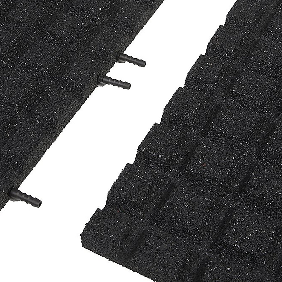 Černá gumová krajová dopadová dlaždice (V30/R15) FLOMA - délka 50 cm, šířka 25 cm a výška 3 cm