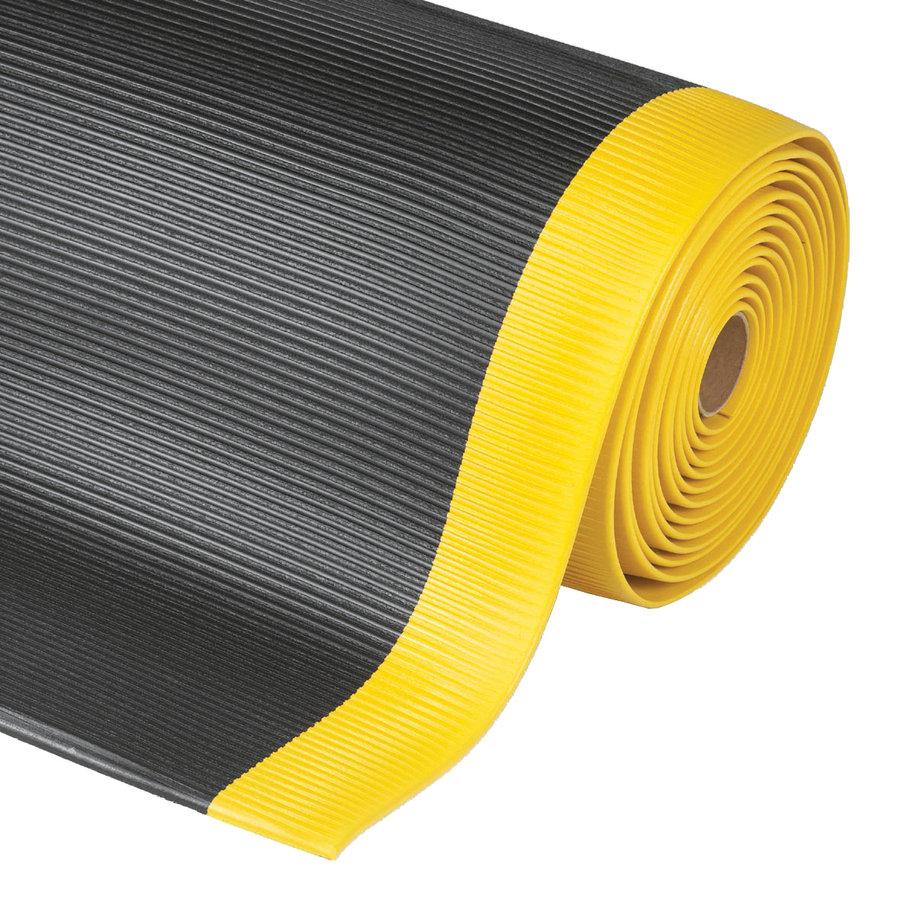 Černo-žlutá metrážová protiúnavová průmyslová rohož - výška 1,27 cm