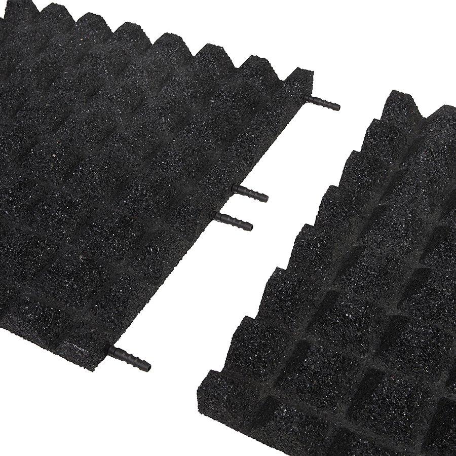 Černá gumová dopadová dlaždice (V40/R28) FLOMA - délka 50 cm, šířka 50 cm a výška 4 cm