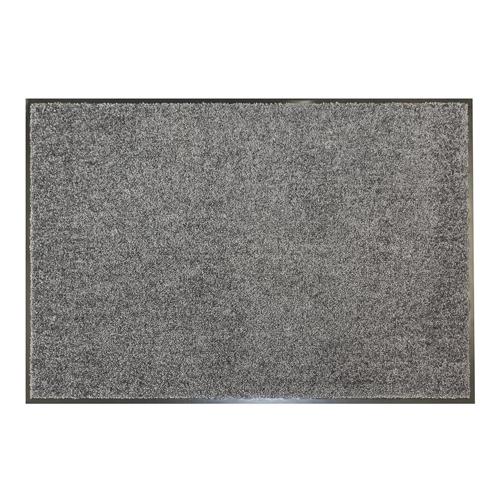 Šedá textilní čistící vnitřní vstupní antibakteriální rohož - výška 0,9 cm
