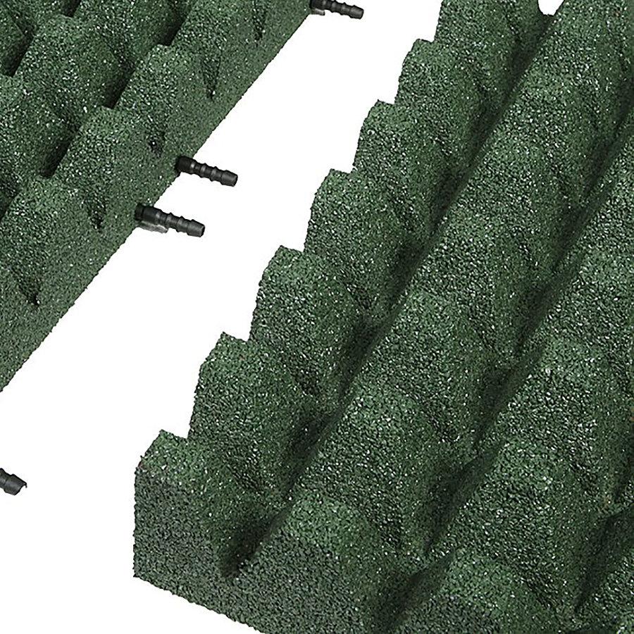 Zelená gumová krajová dopadová dlaždice (V80/R50) FLOMA - délka 50 cm, šířka 25 cm a výška 8 cm