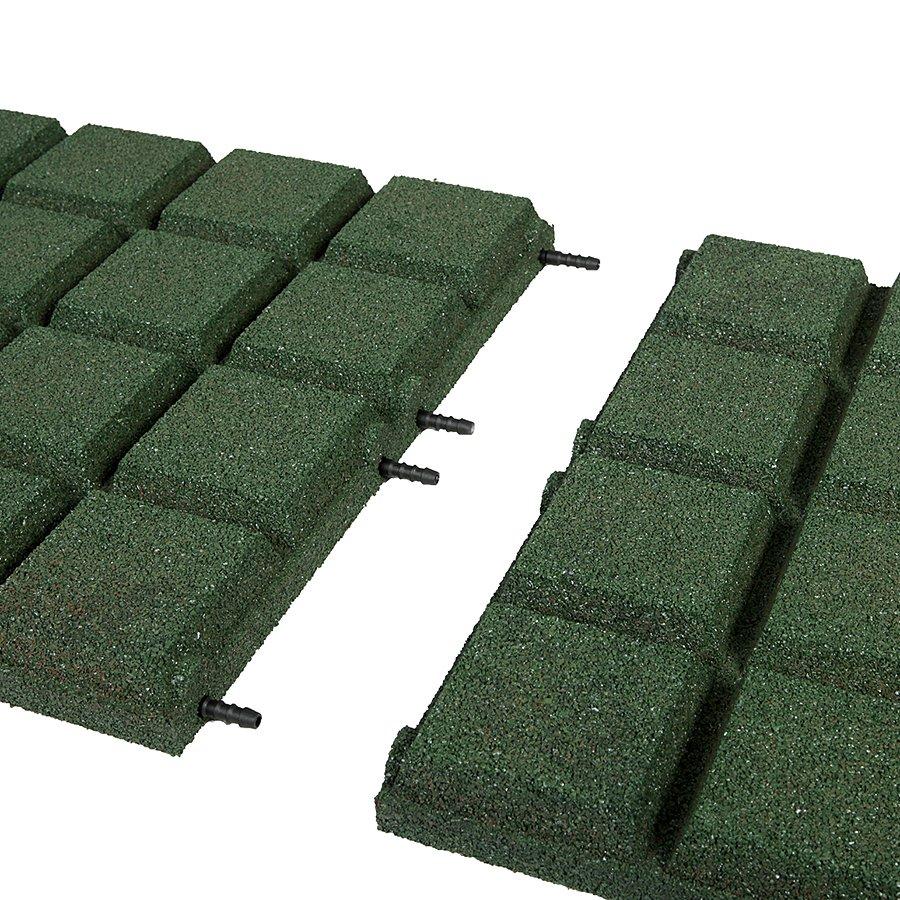 Zelená gumová dopadová dlaždice (V50/R25BIG) FLOMA - délka 50 cm, šířka 50 cm a výška 5 cm