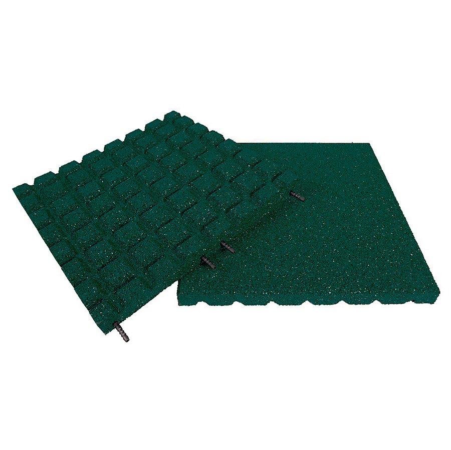 Zelená gumová dopadová dlaždice (V30/R18) FLOMA - délka 50 cm, šířka 50 cm a výška 3 cm
