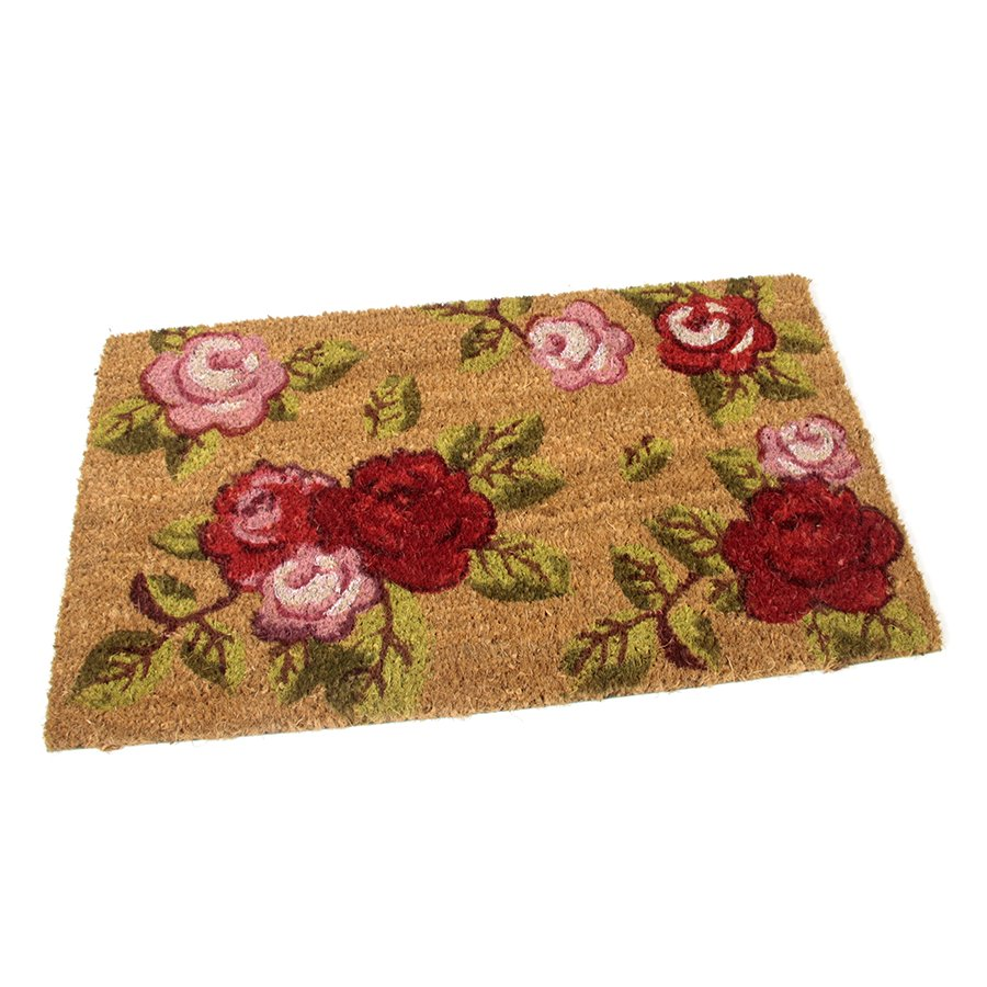 Kokosová venkovní čistící vstupní rohož FLOMA Roses - délka 35 cm, šířka 60 cm a výška 1,7 cm