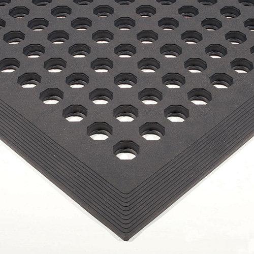 Černá gumová protiskluzová protiúnavová průmyslová rohož - délka 150 cm, šířka 90 cm a výška 1,2 cm