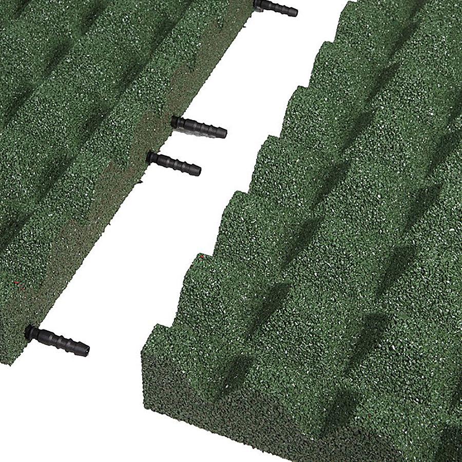 Zelená gumová krajová dopadová dlaždice (V65/R28) FLOMA - délka 50 cm, šířka 25 cm a výška 6,5 cm