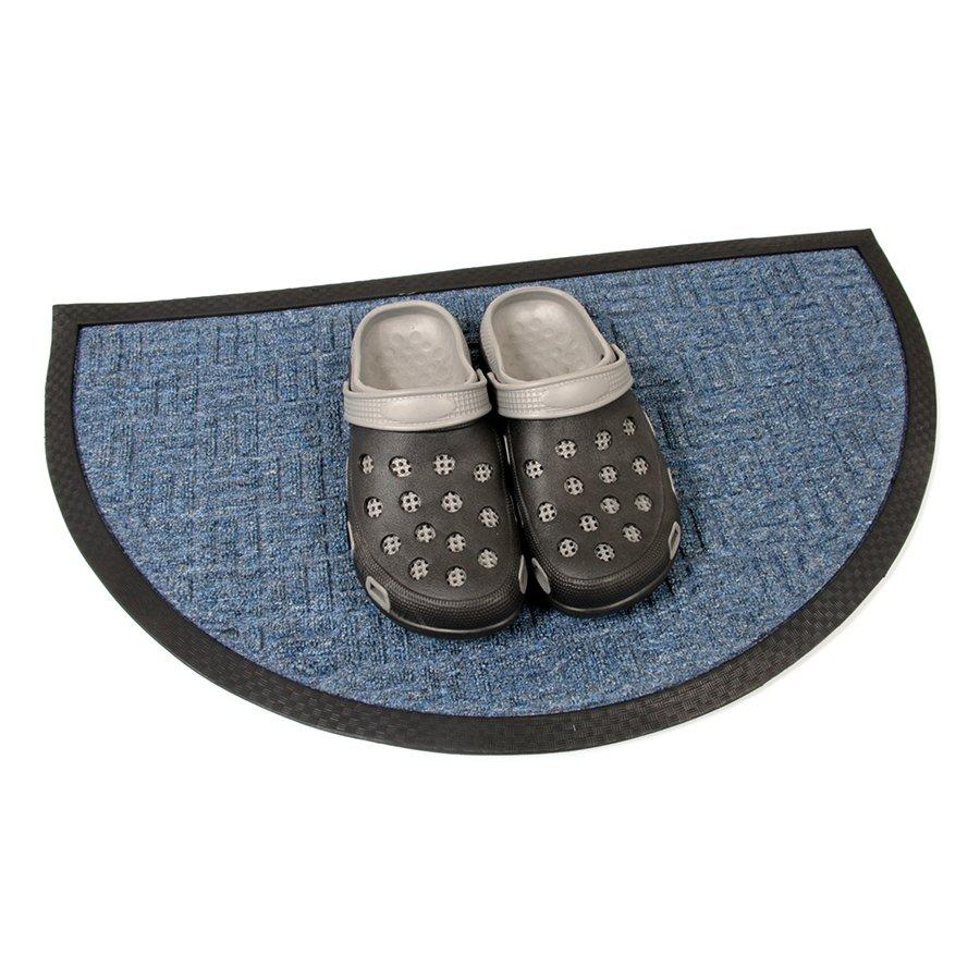 Modrá textilní čistící venkovní vstupní půlkruhová rohož Criss Cross, FLOMA - délka 45 cm, šířka 75 cm a výška 1 cm