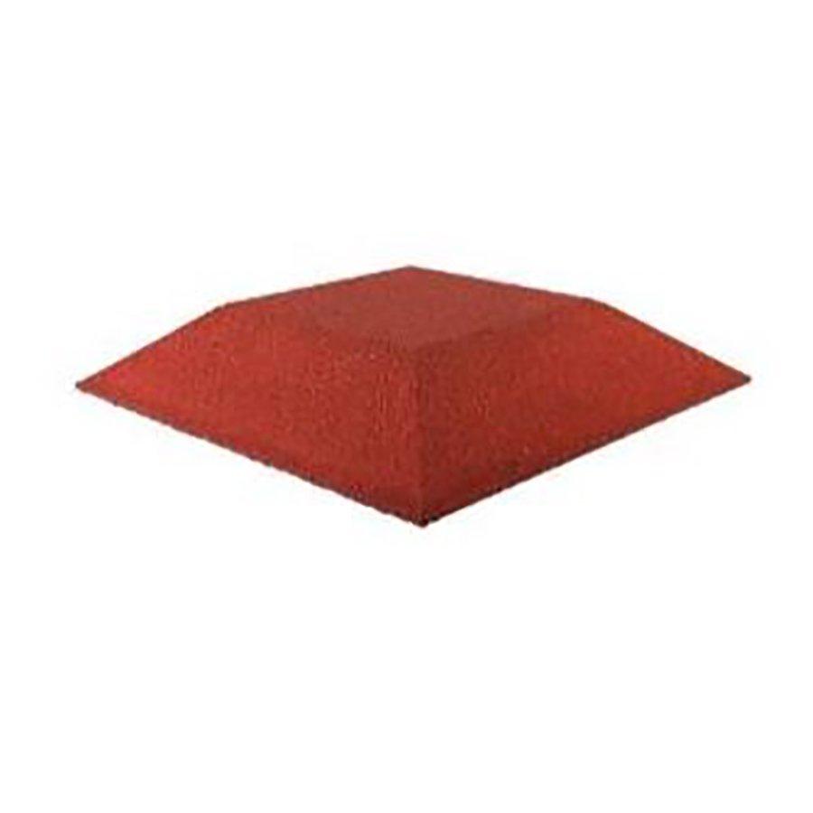 Červená gumová krajová dopadová dlaždice (roh) (V90/R00) FLOMA - délka 50 cm, šířka 50 cm a výška 9 cm
