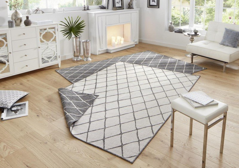 Šedý moderní oboustranný kusový koberec Twin-Wendeteppiche - délka 350 cm a šířka 80 cm