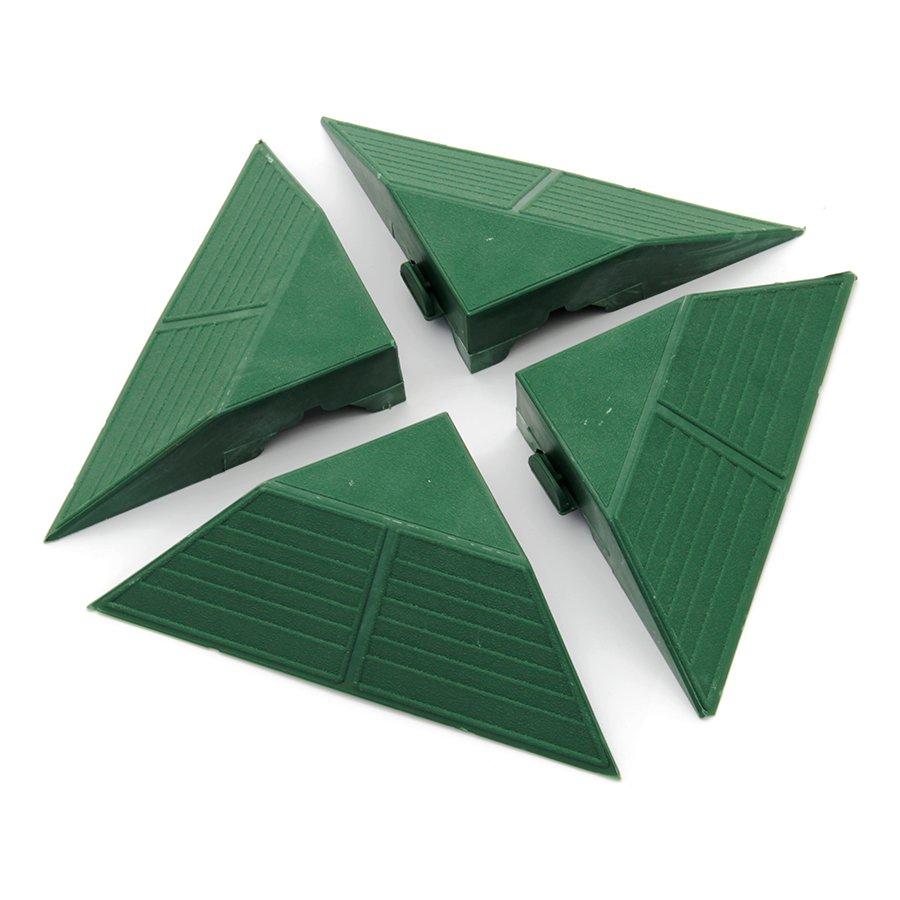 Zelený plastový rohový nájezd pro terasovou dlažbu Linea Combi - výška 4,8 cm - 4 ks