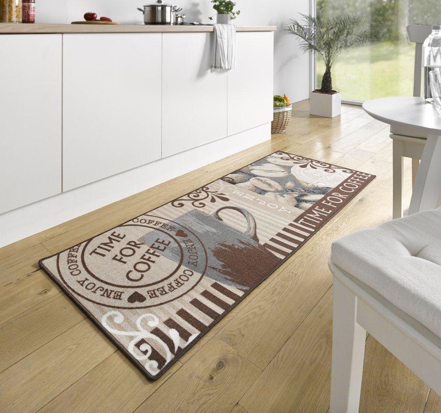 Hnědá kuchyňská kusová moderní předložka Loop, 05 - délka 180 cm a šířka 67 cm