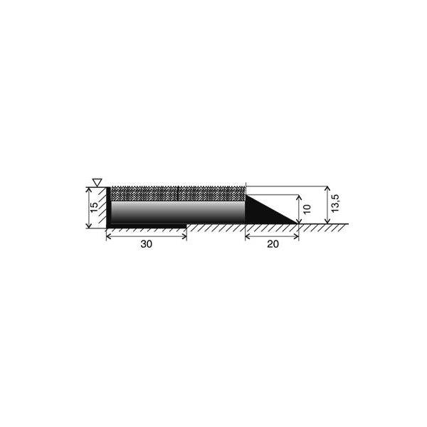 Černá textilní zátěžová čistící vnitřní vstupní rohož Catrine, FLOMA - délka 80 cm, šířka 120 cm a výška 1,35 cm