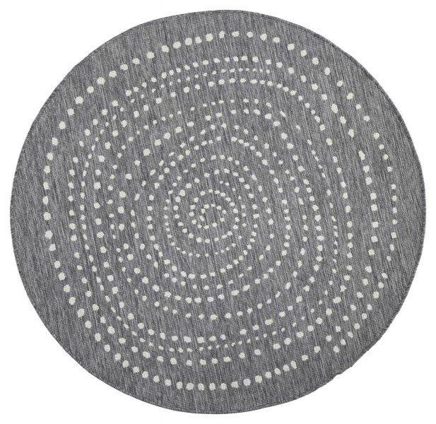 Šedý moderní oboustranný kusový kulatý koberec Twin-Wendeteppiche - průměr 140 cm