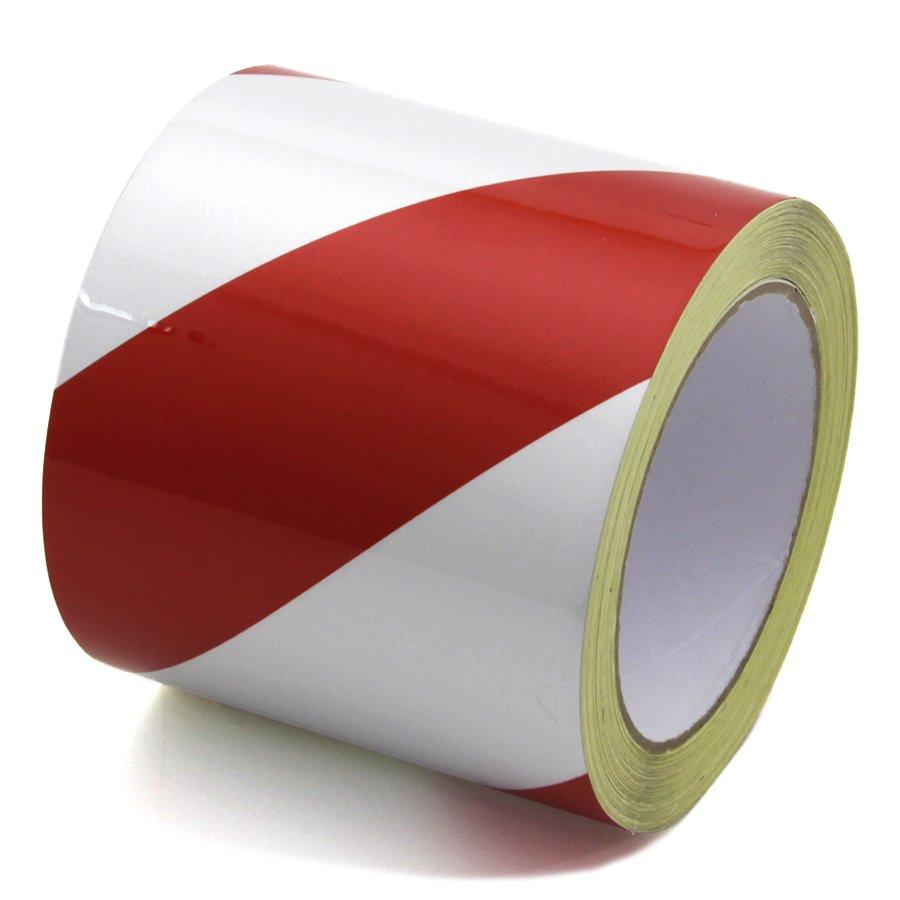 Bílo-červená levá reflexní výstražná páska - délka 15 m a šířka 10 cm