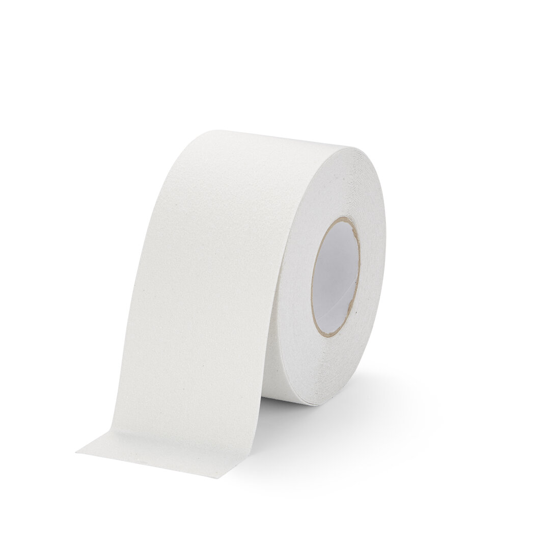 Bílá korundová protiskluzová podlahová páska FLOMA Marine - délka 18,3 m, šířka 10 cm a tloušťka 0,99 mm