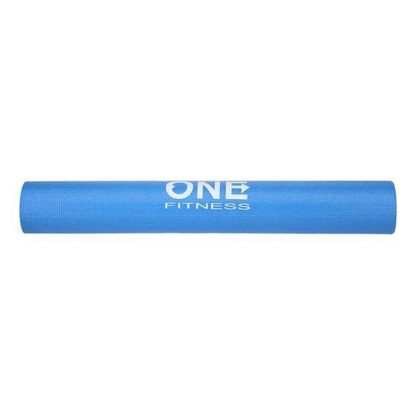 Modrá podložka na jógu ONE FITNESS - délka 173,5 cm, šířka 61 cm a výška 0,3 cm