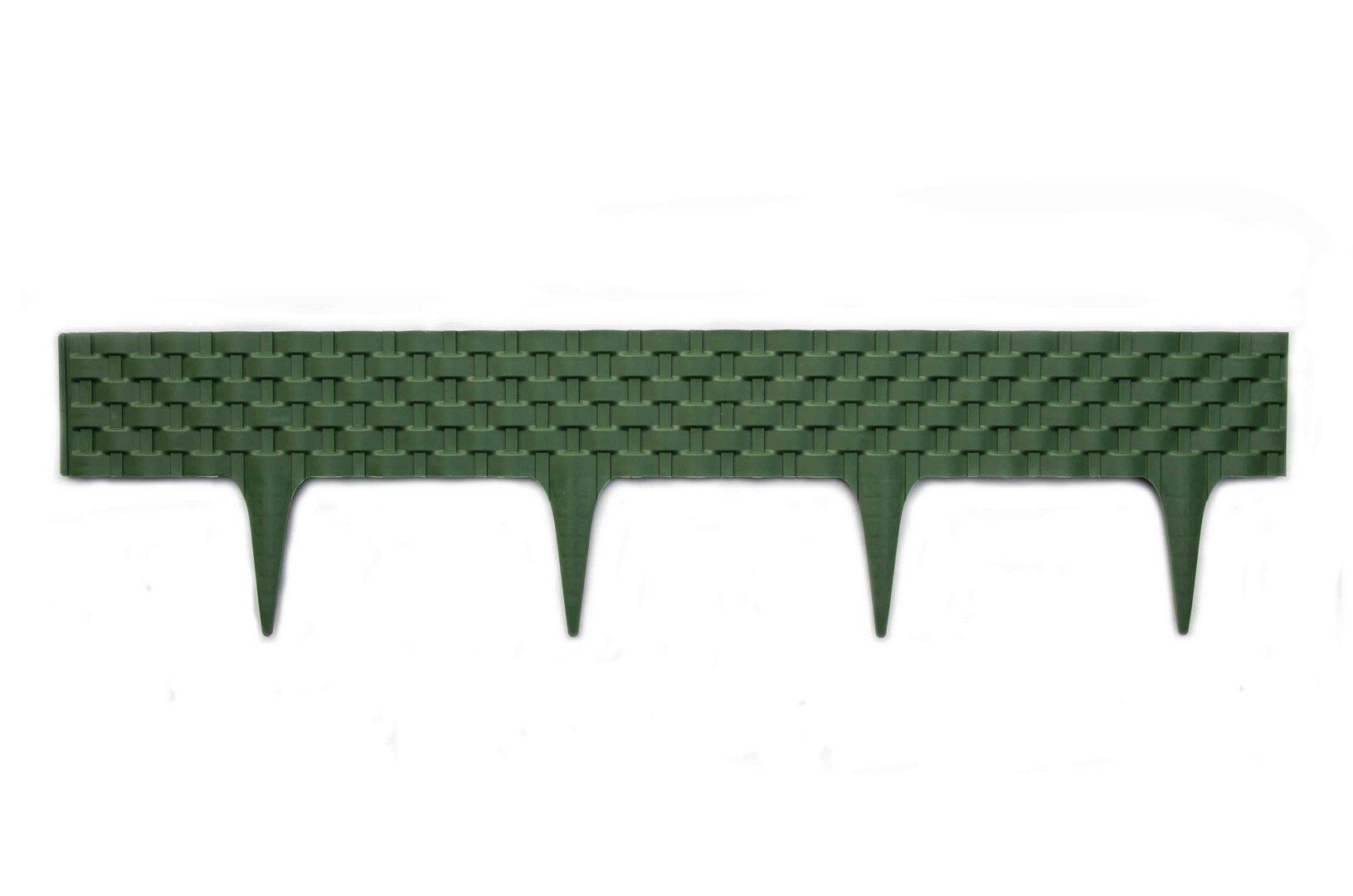 Zelený plastový palisádový zahradní obrubník Ratan - délka 80 cm a výška 8 cm