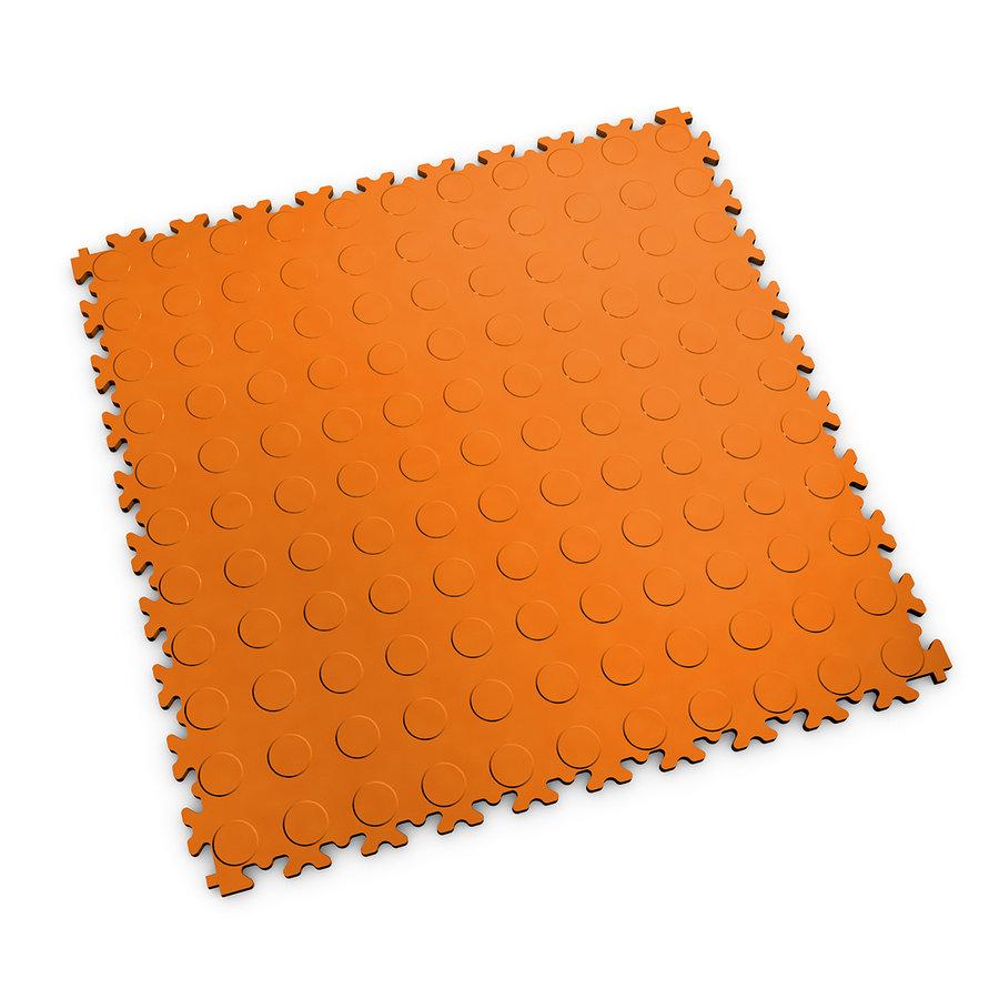 Oranžová vinylová plastová zátěžová dlaždice Industry 2040 (penízky), Fortelock - délka 51 cm, šířka 51 cm a výška 0,7 cm