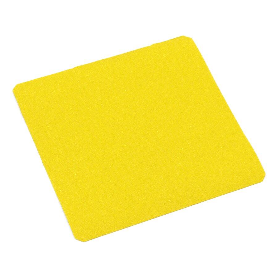 Žlutá korundová protiskluzová páska (dlaždice) FLOMA Super - délka 24 cm, šířka 24 cm a tloušťka 1 mm