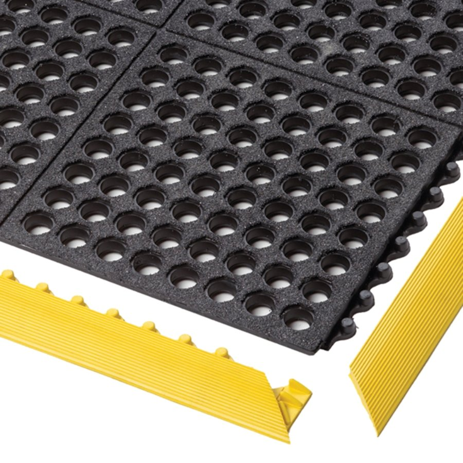 Černá gumová modulární průmyslová rohož Cushion Easy, Nitrile GSII FR - délka 91 cm, šířka 91 cm a výška 1,9 cm