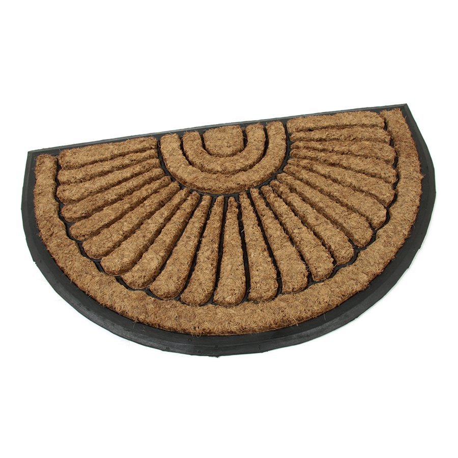 Kokosová čistící venkovní půlkruhová vstupní rohož FLOMA Flower - délka 45 cm, šířka 75 cm a výška 2,2 cm