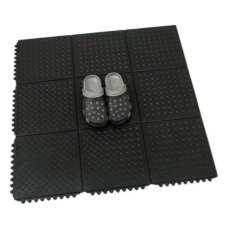 Gumová protiúnavová rohož FLOMA Diamond Plate Tile - délka 91 cm, šířka 91 cm a výška 1,4 cm