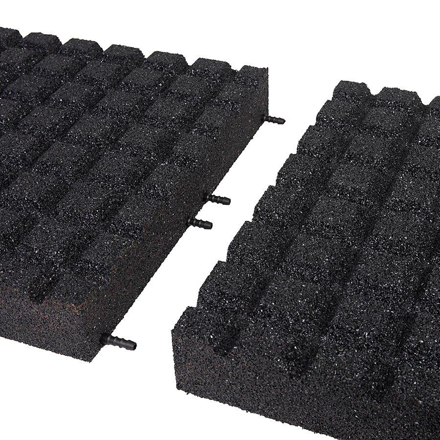 Černá gumová dlaždice (V80/R15) - délka 50 cm, šířka 50 cm a výška 8 cm