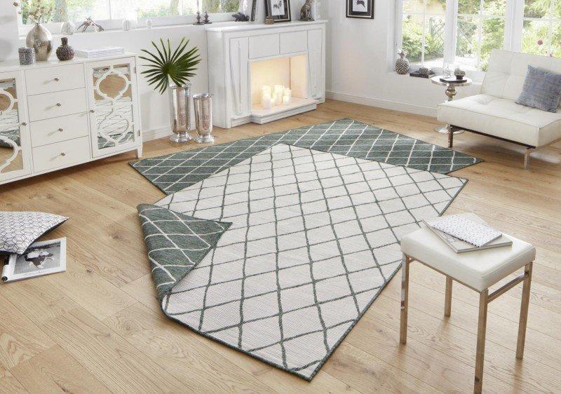 Zelený moderní oboustranný koberec Twin-Wendeteppiche