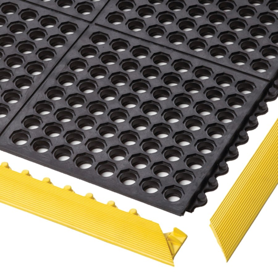 Černá gumová modulární průmyslová rohož Cushion Easy, Nitrile FR - délka 91 cm, šířka 91 cm a výška 1,9 cm