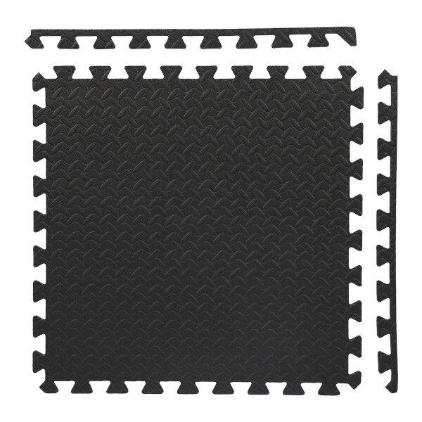 Černá fitness pěnová puzzle podložka - délka 180 cm, šířka 120 cm a výška 1,2 cm - 6 ks