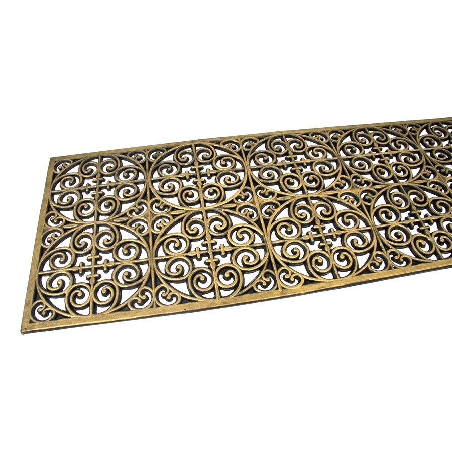 Zlatá gumová čistící venkovní vstupní rohož Circles - Deco, FLOMA - délka 45 cm, šířka 120 cm a výška 0,9 cm