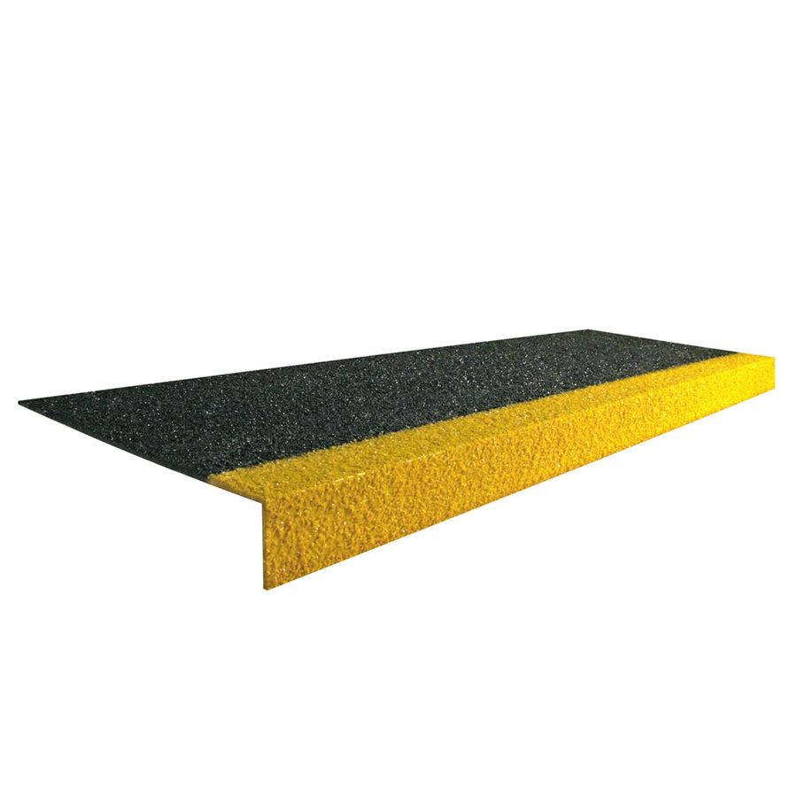 Černo-žlutá karborundová schodová hrana - šířka 34,5 cm, výška 5,5 cm a tloušťka 0,5 cm