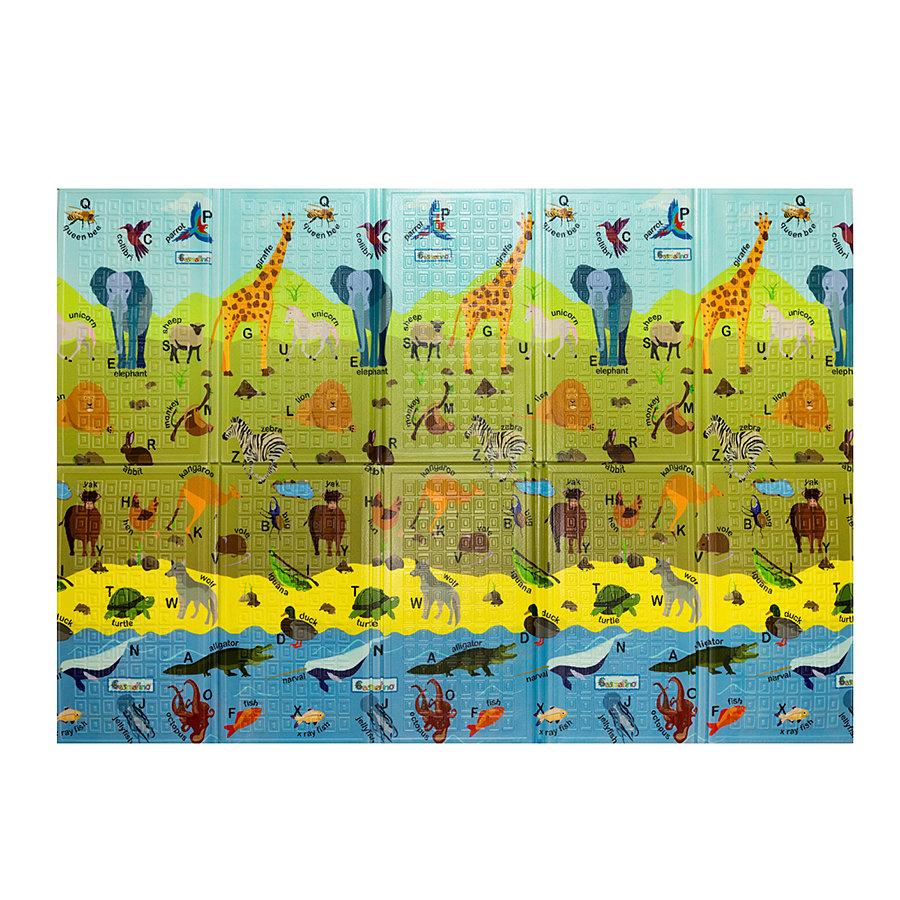 Dětská skládací pěnová hrací podložka ABC Animals, Casmatino - délka 200 cm, šířka 140 cm a výška 1 cm