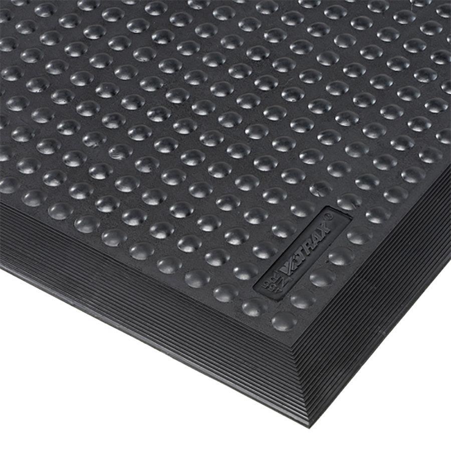 Černá gumová protiúnavová průmyslová rohož Skystep - délka 60 cm, šířka 90 cm a výška 1,3 cm