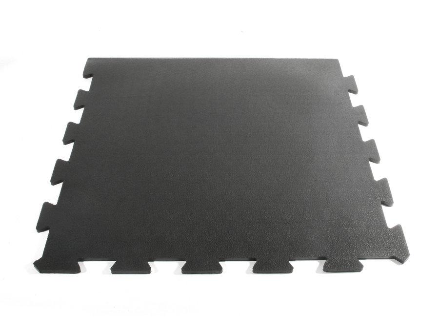 Černá gumová modulární koncová fitness deska Sport Tile - délka 61 cm, šířka 61 cm a výška 1 cm
