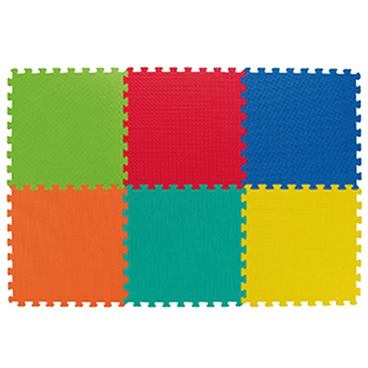 Různobarevná dětská modulární pěnová podložka - délka 124 cm, šířka 124 cm a výška 1,2 cm - 6 ks
