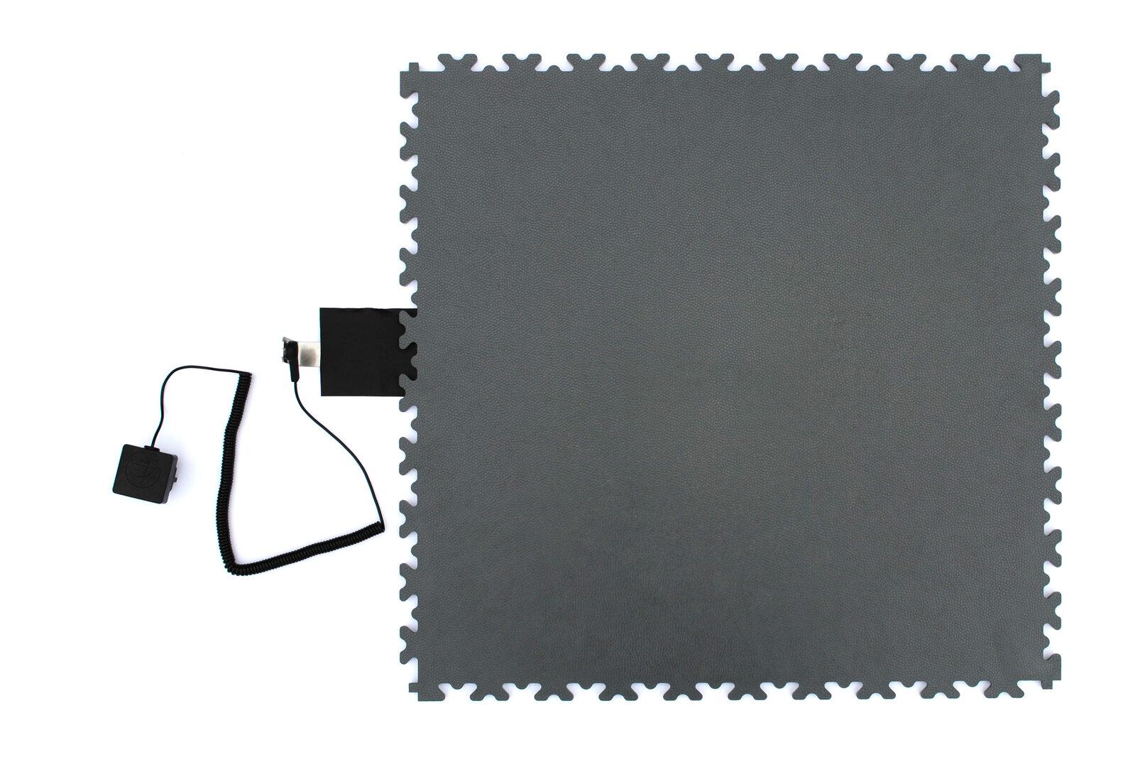 Šedá PVC vinylová zátěžová dlažba Fortelock Industry ESD - délka 51 cm, šířka 51 cm a výška 0,7 cm