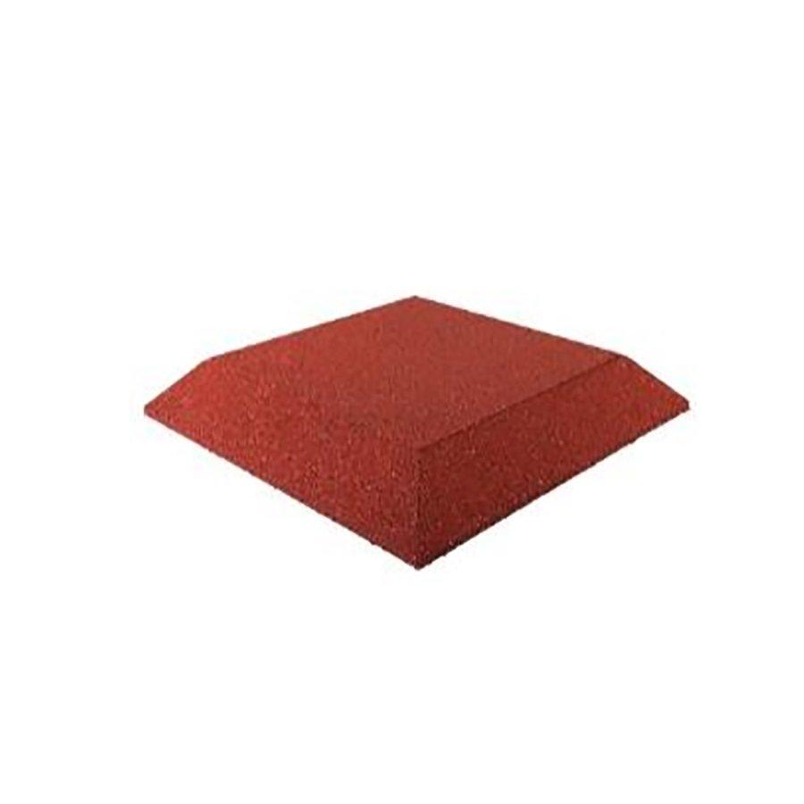 Červená gumová krajová dopadová dlaždice (roh) (V65/R00) FLOMA - délka 50 cm, šířka 50 cm a výška 6,5 cm