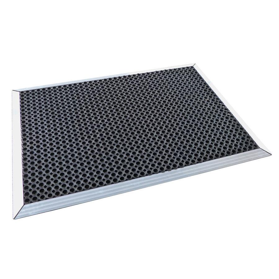 Černá gumová vstupní čistící rohož s hliníkovým nájezdem - délka 150 cm, šířka 100 cm a výška 2,2 cm