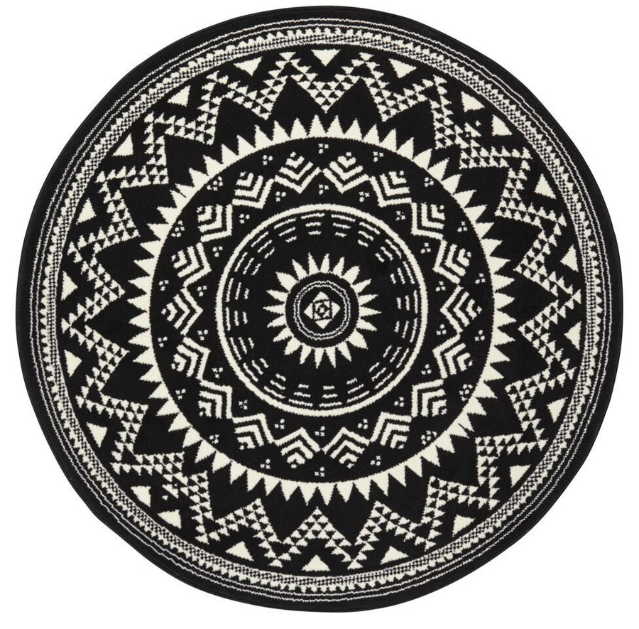 Černý kusový kulatý koberec Valencia, Celebration - průměr 140 cm