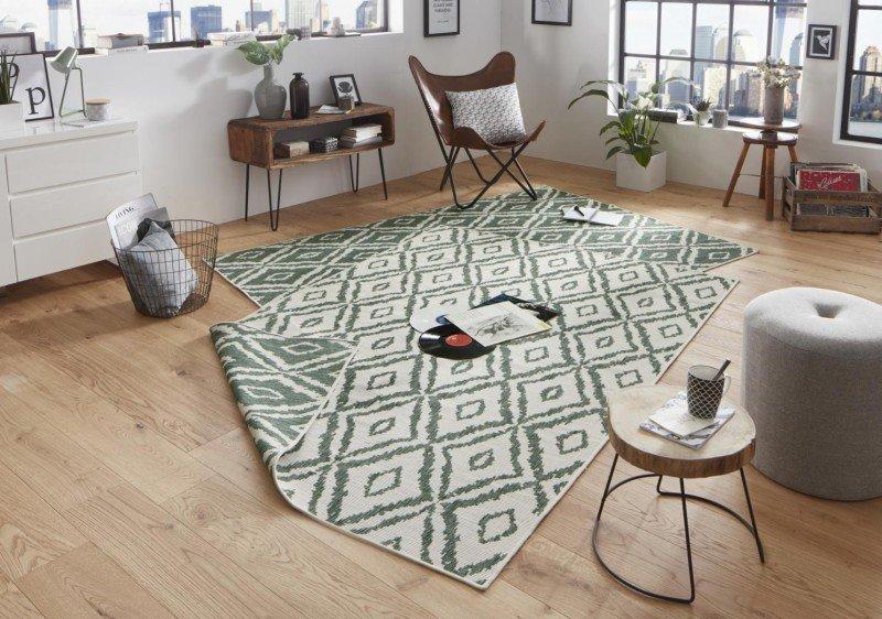 Zelený oboustranný moderní koberec Twin-Wendeteppiche - délka 350 cm a šířka 80 cm