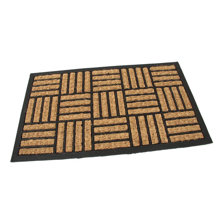 Kokosová čistící venkovní vstupní rohož Lines - Squares, FLOMAT - délka 45 cm, šířka 75 cm a výška 0,8 cm
