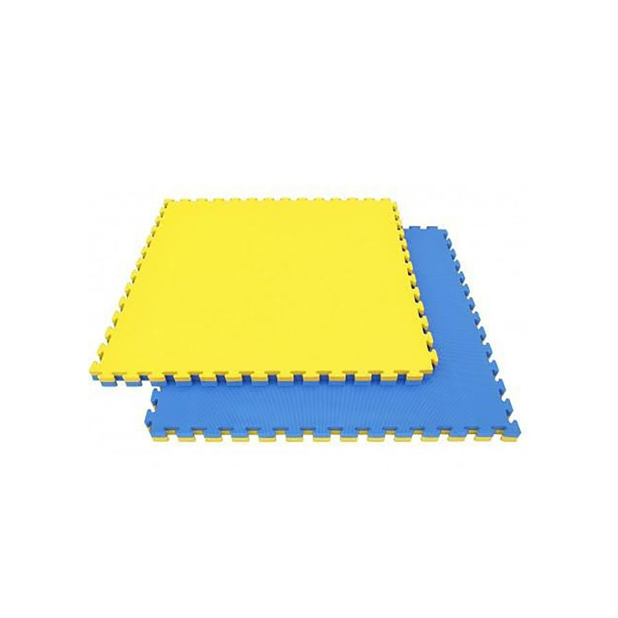 Žluto-modrá modulární pěnová oboustranná podložka - délka 100 cm, šířka 100 cm a výška 2,5 cm
