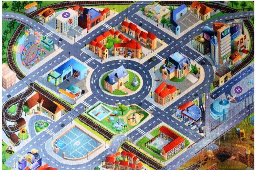Různobarevný hrací kusový dětský koberec Ultra Soft - délka 180 cm a šířka 130 cm