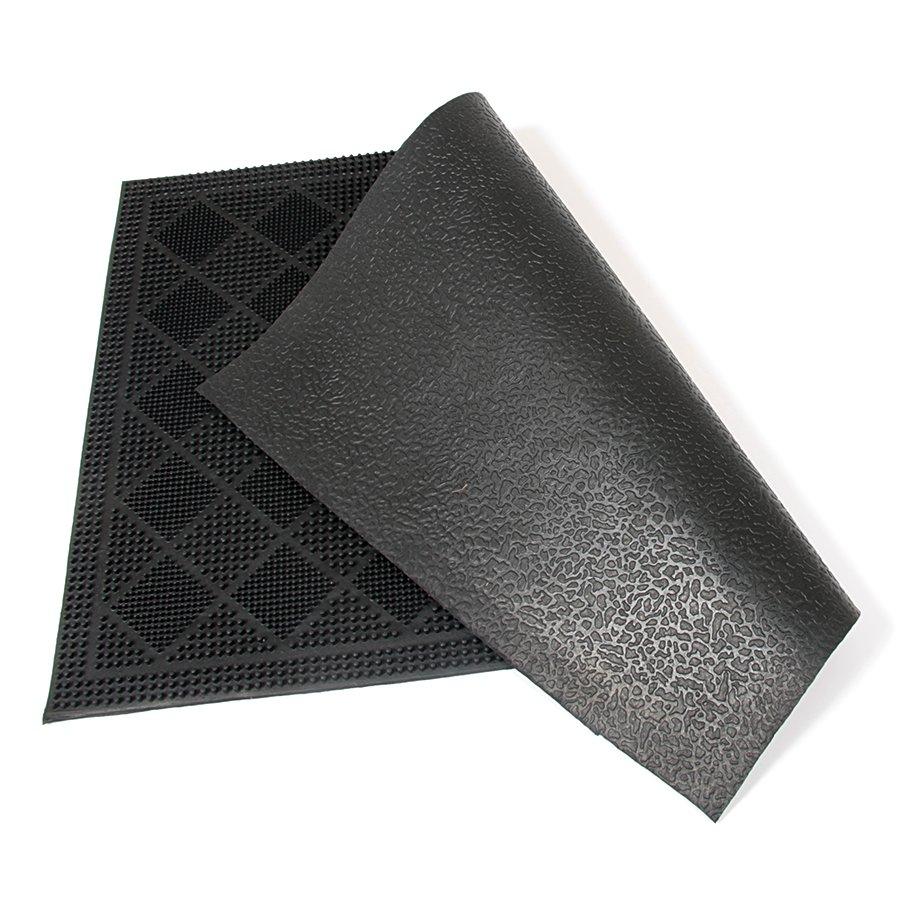 Gumová čistící venkovní vstupní rohož Squares, FLOMA - délka 40 cm, šířka 60 cm a výška 0,7 cm