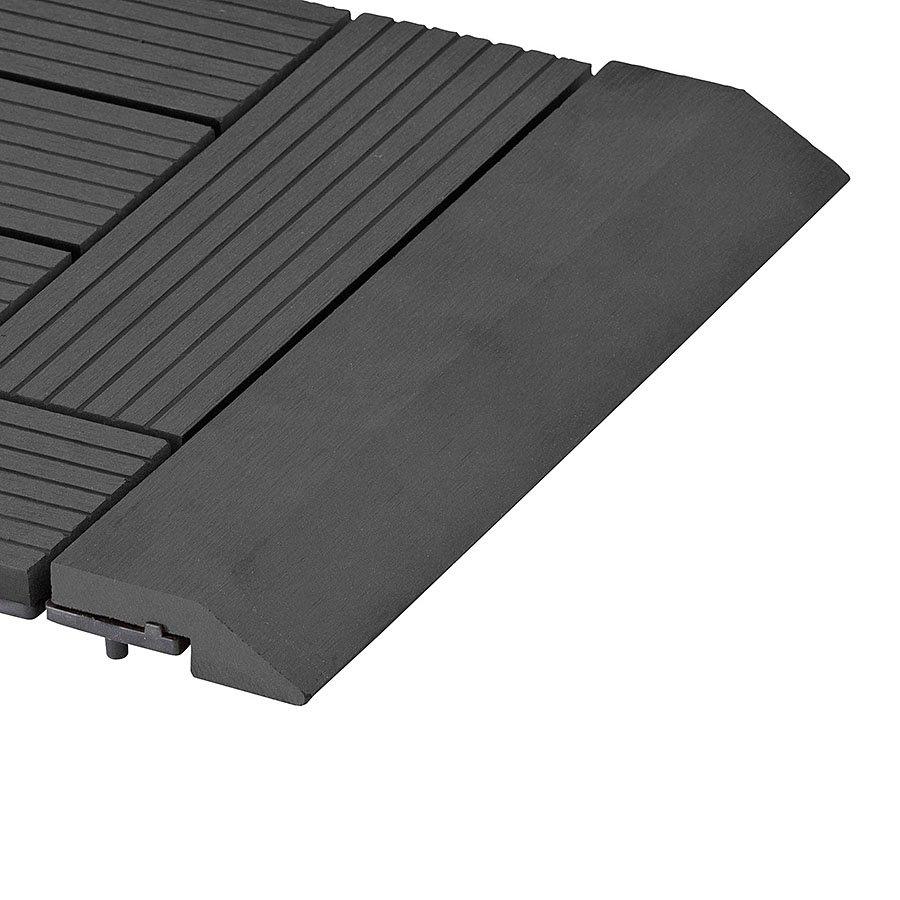 Černá dřevoplastová WPC rovná lišta pro dlaždice Palmyra a Samoa - délka 30 cm a šířka 7,5 cm