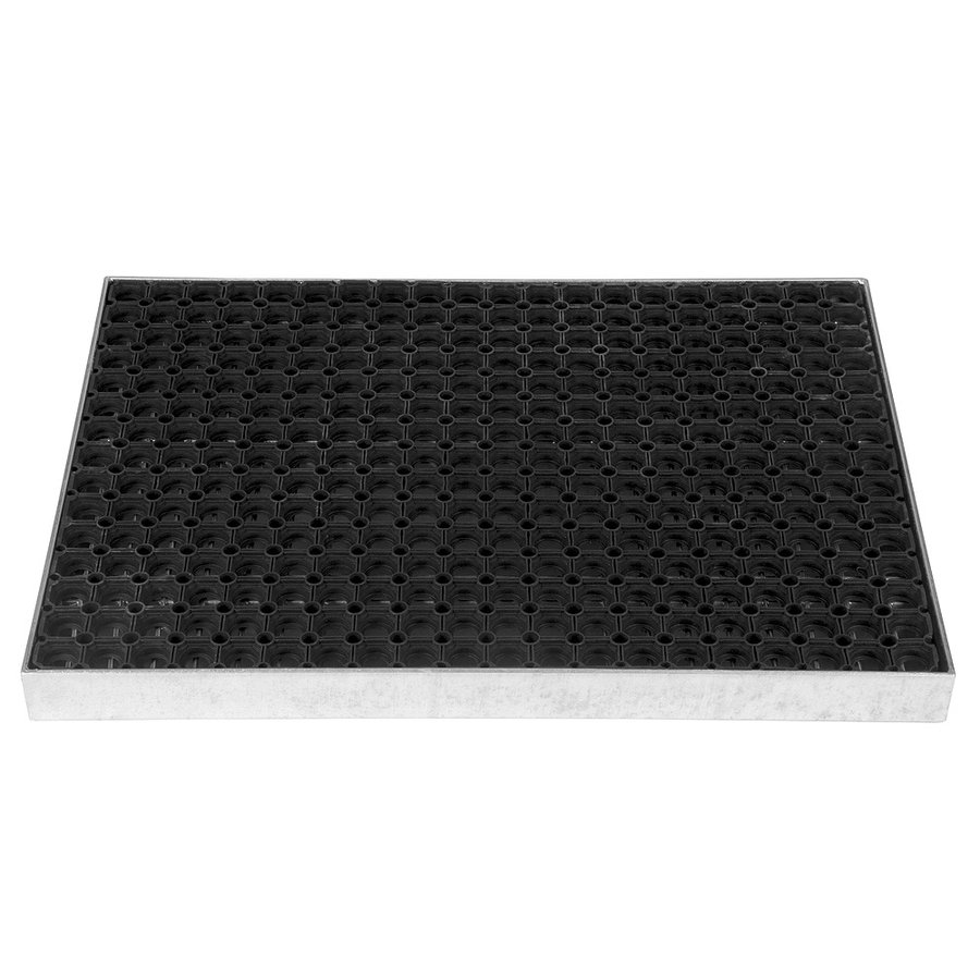 Kovová ocelová čistící venkovní vstupní rohož ze svařovaných podlahových roštů s gumou bez pracen Galva, FLOMA - délka 43 cm, šířka 51,5 cm a výška 6 cm