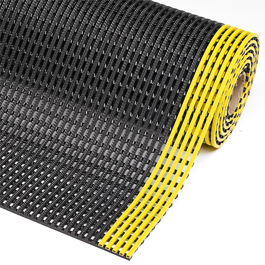 Černo-žlutá olejivzdorná protiskluzová průmyslová rohož Flexdek - výška 1,2 cm