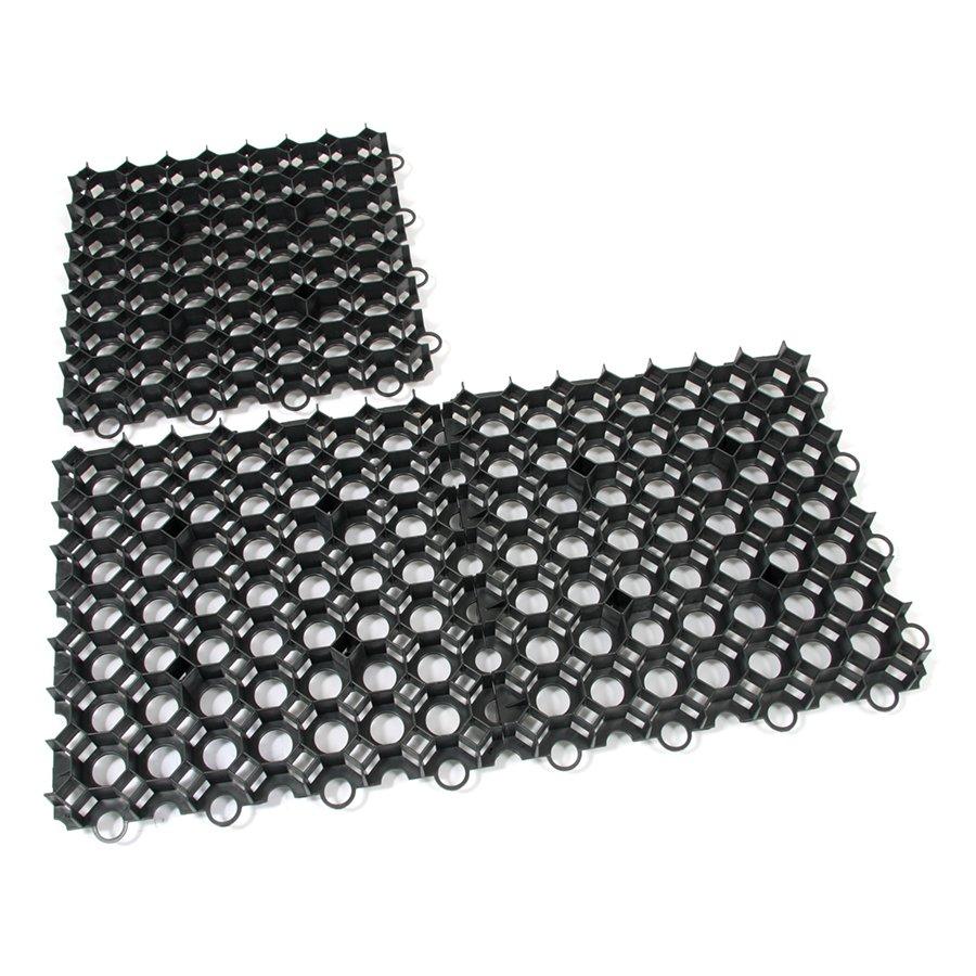 Černá plastová zatravňovací dlažba - délka 50 cm, šířka 50 cm a výška 6,2 cm