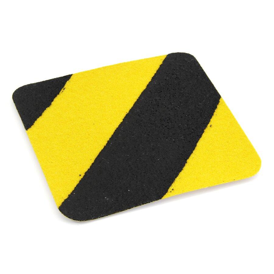 Černo-žlutá korundová protiskluzová podlahová páska Super - délka 14 cm, šířka 14 cm a tloušťka 1 mm